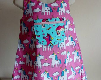 Pink unicorns A line dress 3 years old