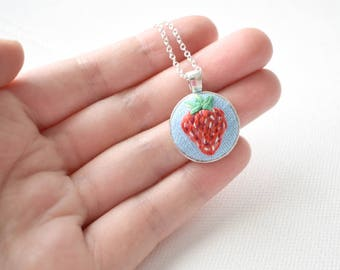 Hand Embroidered Strawberry Pendant, Mini Pendant, Strawberry Necklace, Cute Strawberry Jewellery