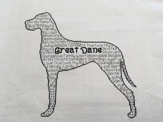 Great Dane In Words Cross Stitch Chart Etsy