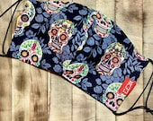 Kaiju Sugar Skulls Face Mask Adult size Reversible Made in Austin Texas