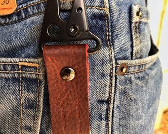 Kaiju Horween Light Brown Leather Key Fob, Key Chain