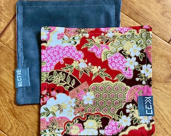 """Kaiju Cut and Sew + KLCTVE """"Pink & Red Floral"""" Micro Suede Cleaning Cloth 