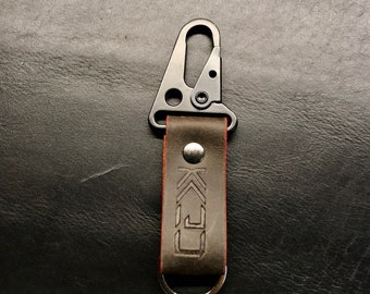 Kaiju Dark Brown Double Waxed Leather Key Fob, Key Chain