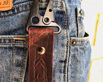 Kaiju Horween Bison Leather Key Fob, Key Chain