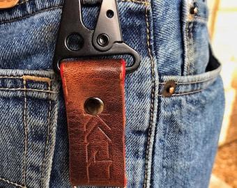 Kaiju Horween Brown Leather Key Fob, Key Chain