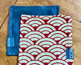 """Kaiju Cut and Sew + KLCTVE """"Red & White Waves"""" Micro Suede Cleaning Cloth 
