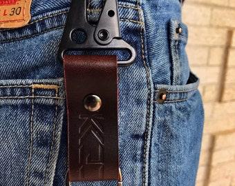 Kaiju Horween Dark Mocha Leather Key Fob, Key Chain