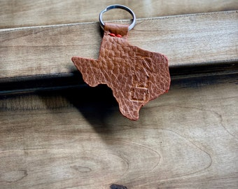 "Kaiju ""Light Brown"" Leather Texas Keychain | Handmade in Austin, Texas"
