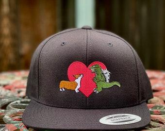 Kaiju Cut and Sew Kaiju Corgi Love Black Snapback Cap