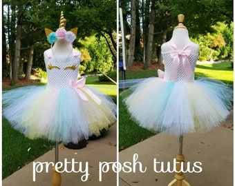 c89e6a132c Pastel Unicorn tutu dress!! Halloween costume, tutu costume, birthday dress,  unicorn tutu dress, pastel unicorn costume, gold