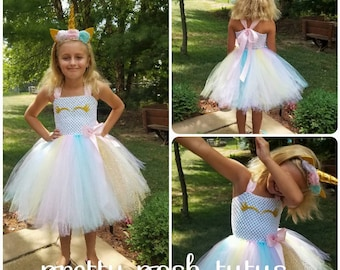 9206f70a0c1f1 Halloween costume, tutu costume, birthday dress, unicorn tutu dress, pastel  unicorn costume, gold pastel dress, front lined