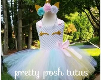 8c07da997c103 Halloween costume, tutu costume, birthday dress, unicorn tutu dress, pastel  unicorn costume, gold rainbow dress