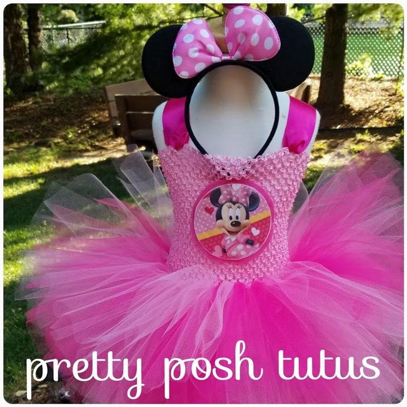 e498190b98da6 Minnie Mouse costume tutu dress!! Halloween costume, lined front bodice,  birthday tutu dress, pink minnie costume, minnie ears headband