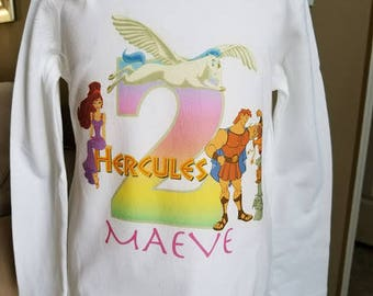 Hercules Birthday birthday Shirt!!!! Any age and name!  2t 3t 4t 5t 6/6x 7/8 10/12 All princesses long or short sleeve