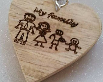 Natural wood engraved keyrings, any inscription, childs hand and foot prints engraved, stick family, any design