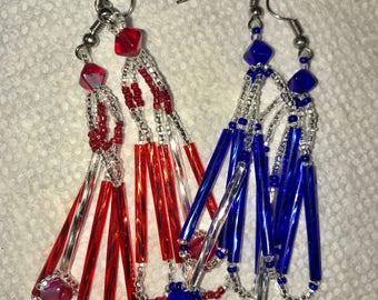 Blue and Red Earrings; Two For The Price Of One
