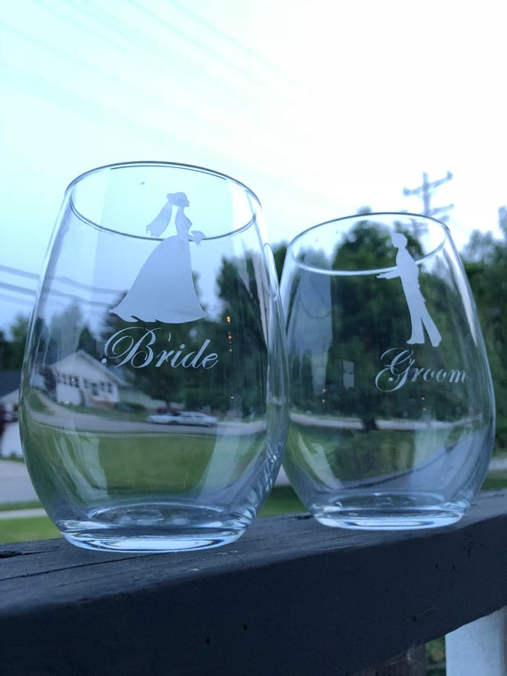 Bride And Groom Wedding Reception Stemless Wine Glass Etsy