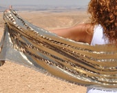 Handmade shawls, Gold boho cover up for Festivals, Burning man clothing and Coachella outfit