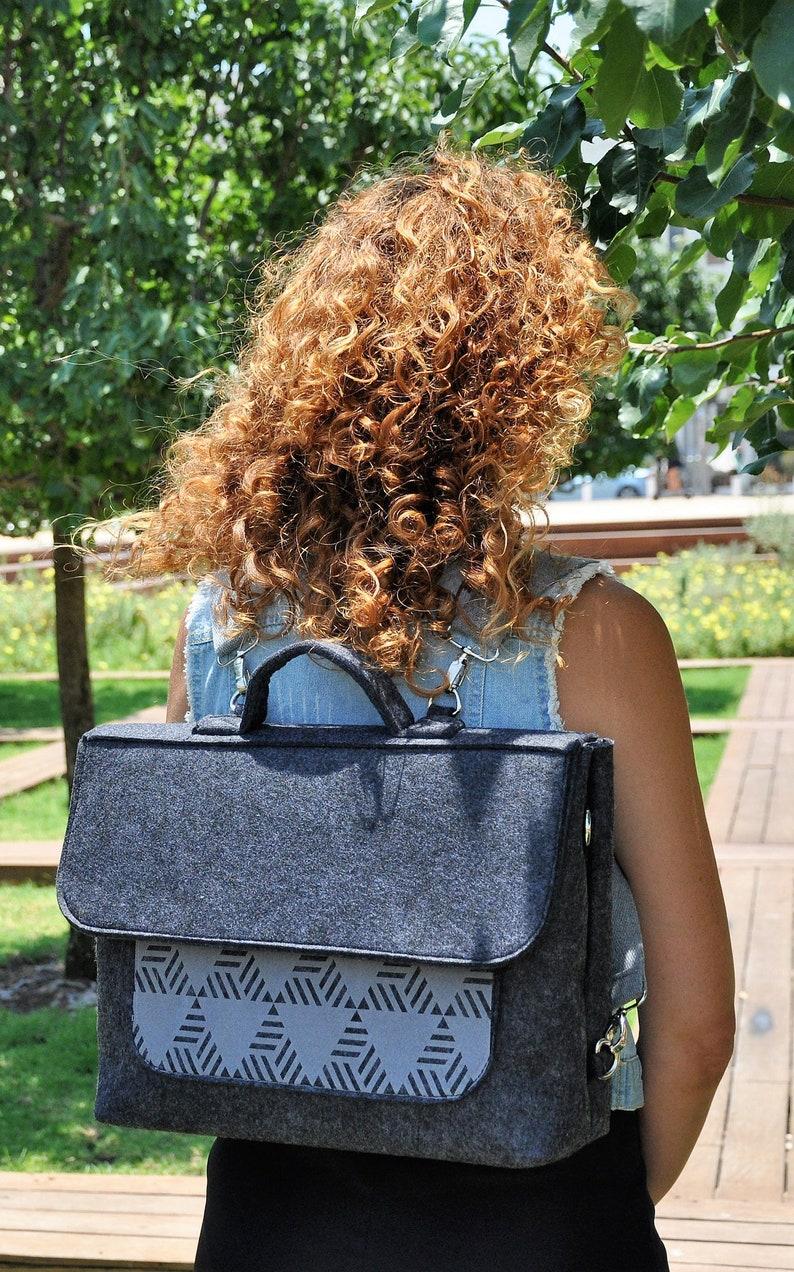 School backpack Shoulder computer bag Convertible Messenger bag women 14 laptop bag Vegan Satchel bag Macbook Pro 15 Retina handbag