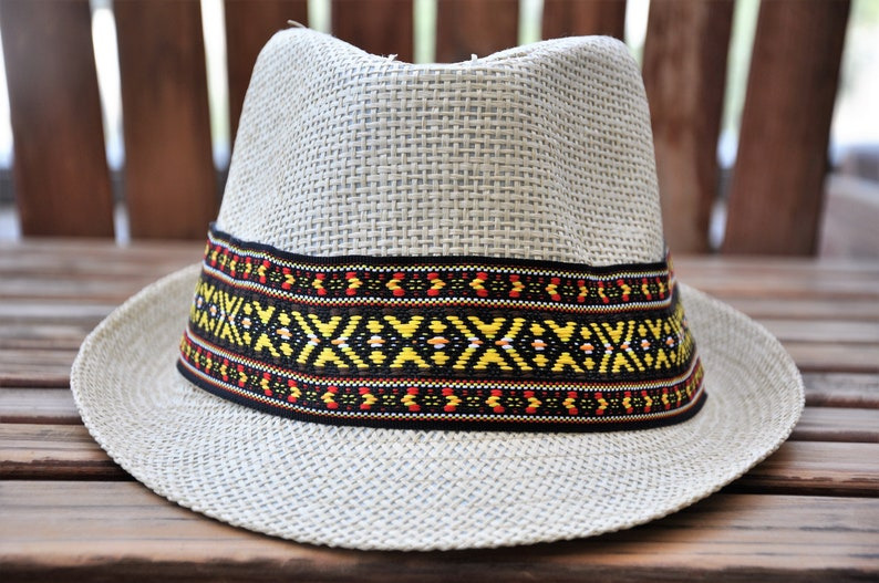 15b18fff0e0 Ethnic Fedora hat Tribal sun hat Panama straw hat Hats for | Etsy