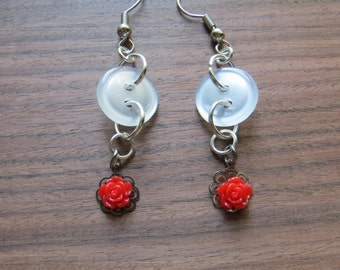 Rose and Button Drop Earrings // Cute and Quirky // Flower // Teen // Young Girl // Birthday Gift // Gifts for her // Back to School