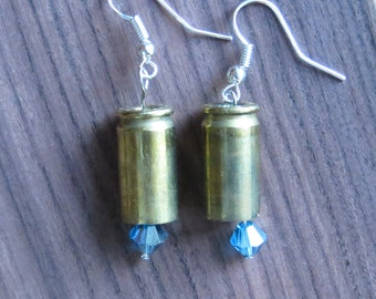 Upcycled Bullet Casing Earrings with Crystal Bead