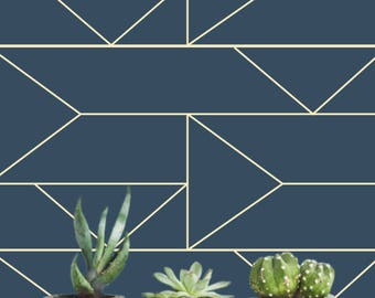 Navy Geometric Removable wallpaper/Self-adhesive/Regular wallpaper/Temporary wallpaper/ Navy Geometric Wallpaper A010