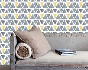 Triangles Color Removable Wallpaper,Triangles Regular Wallpaper,Watercolor Triangles Wallpaper S165