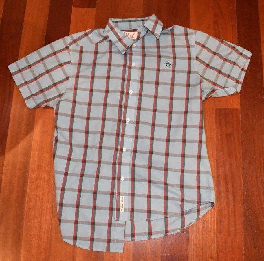 À manches courtes à carreaux bleu bouton Original Original bouton Penguin homme vers le bas de la chemise pour homme taille M 595f7b