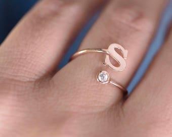 de05db2ec Initial Letter Ring, Custom Initial Ring, Initial Open Ring, Personalized  Ring, Initial Birthstone Ring, Adjustable Initial Ring
