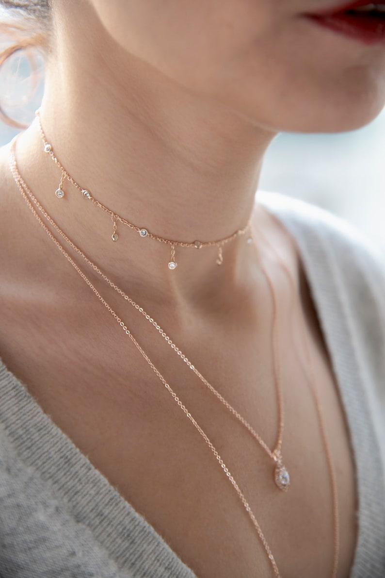 6ec1b730cd7fd Bezel Diamond Choker, Multi Bezel Necklace, Diamond Chain Choker, Bezel  Diamond Charm Choker, Dangling CZ Choker Necklace, Layering Necklace