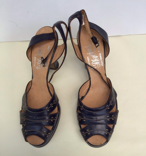 Ankle Strap Vintage Shoes, Fostars Blue Rhythm Forties Fifties Platform, High Heel Sandal Pump All Leather, Fractional Fitting Size 8 12