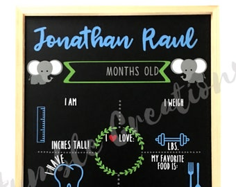Personalized Baby Milestone Board // Monthly Baby Chalkboard // Baby Shower Gift // Baby Boy