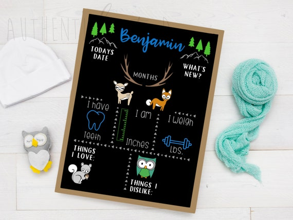 Ocean Theme Underwater Baby Boy Baby Girl Baby Shower Gift Idea Milestone Chalkboard Chalkboard Sign Personalized Gift for Babies