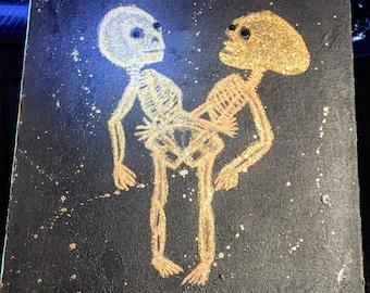 Canvas Art: Together Forever Conjoined Anatomical Skeleton C