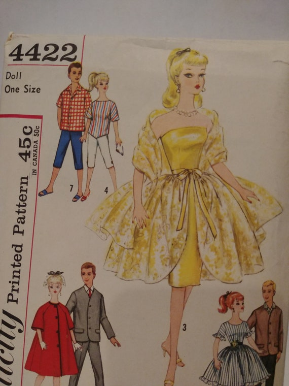 Simplicity 4422 Barbie /& Ken Vintage Fashion TEEN DOLL Fabric Sewing Pattern