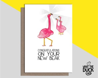 Rude & Funny Homemade Nose Job Greetings Card For Get Well Soon, Rhinoplasty, New Nose, Operation And Surgery By What the Duck Cards - BEAK