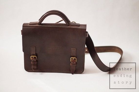 Expert Leather Bag Satchel Messenger Dark Brown Medium  93ddf9a13a