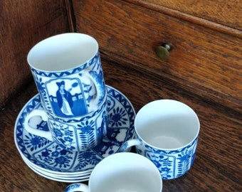 Set of 5 blue white cup and saucer long lamb