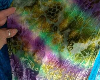 Hand dyed Velvet Scarf with fringe!