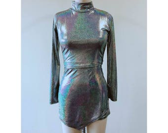 024623411f1 Holographic Top   Skirt Set Rave Two Piece Set Metallic Top Skirt New Years  Eve Party Outfit Festival Clothing Party Outfit Silver Clothing