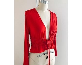 Tie Waist Crop Top/Red Bolero Style Top/Red Crop Top/Open Front Crop Top/Casual Top/Tie Hem Top/Red Cardigan/Women Cotton Top
