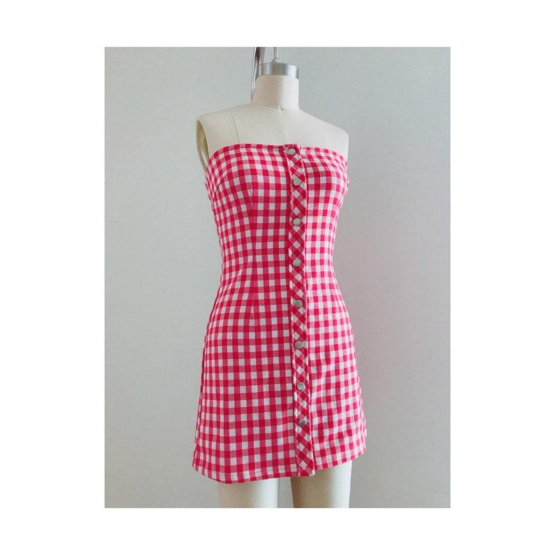 16fb1e2fd3b Red Gingham Dress Red Checkered Dress Red Plaid Dress Tube