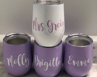 Personalized Bridesmaid Bachelorette Stainless Steel Stemless Wine glass!  Rose Gold wine - Resting GRINCH Face - Mermaid Wine Glass