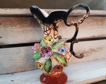 Vintage 3D Relief / Raised Floral Vase