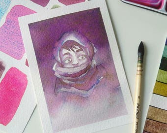 "ORIGINAL ""thought"" Postcard illustration"