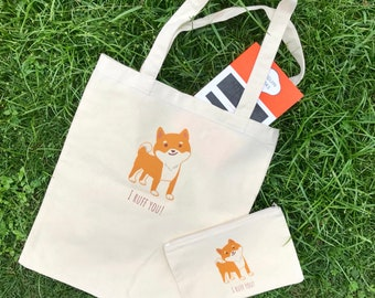 Shiba inu bag and pouch set (I Ruff You)