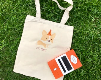 Corgi bag and pouch set (Let's Pawty)