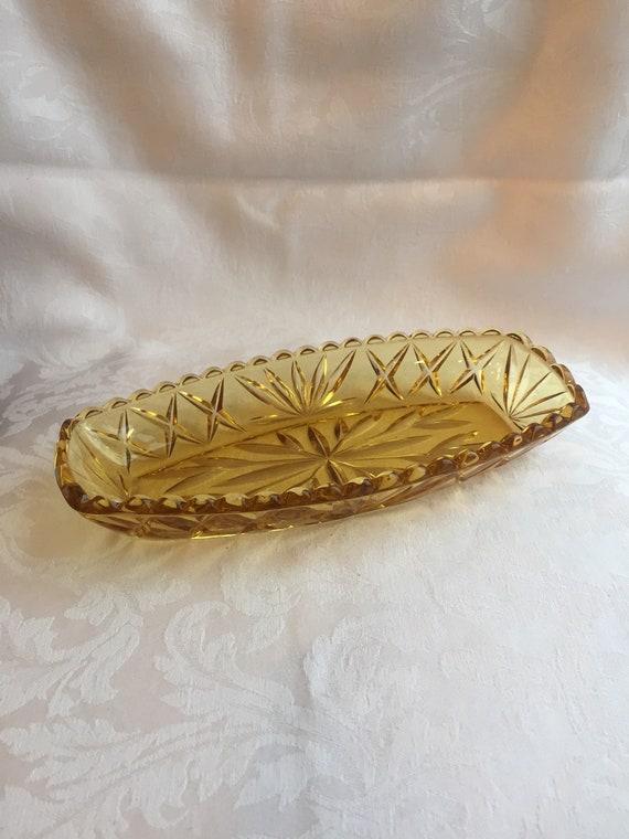repurpose as bathroom vanity tray Vintage glass tray