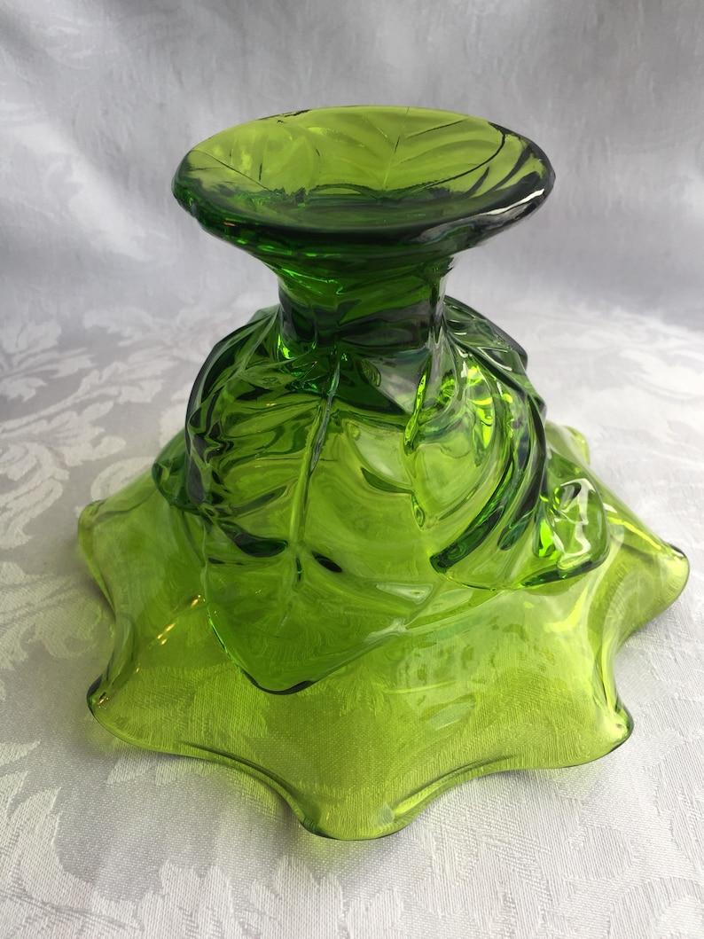Green Viking glass epic leaf compotebowl